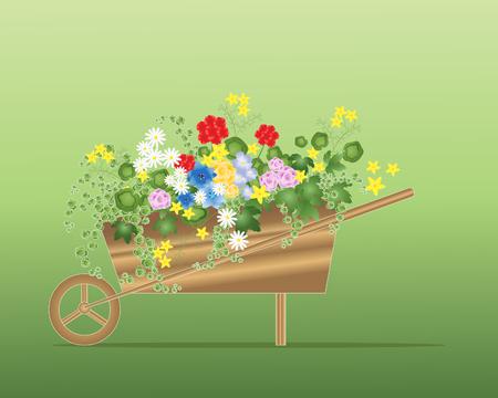 een illustratie van een houten kruiwagen beplant met zomerbloemen en gebladerte planten op een groene achtergrond