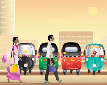 an illustration of a man and a woman walking past a tuk tuk taxi park in a large asian city at sundown illustration