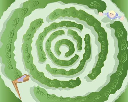 an illustration of a circular maze with hedges a signpost and a young girl at the entrance Vector