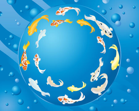 an illustration of colorful koi carp swimming in a circle with blue water and bubbles in the background