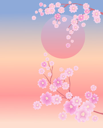 oriental: an illustration of a japanese sun with pink blossom flowers on a blue and yellow background