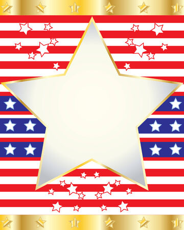independance day: an illustration of elements from an american flag with stars and stripes in red blue white and gold
