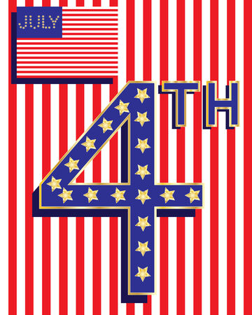 independance day: an illustration of an abstract american flag with decorative number four and golden stars