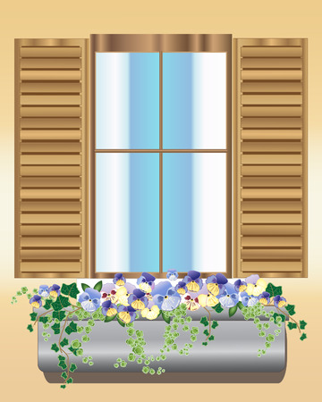an illustration of a wooden window with shutters and a window box full of pansies and foliage plants