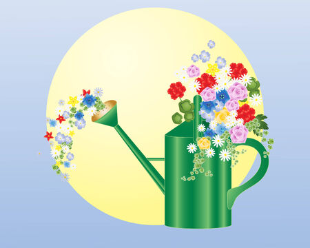 an illustration of a green watering can with beautiful summer flowers inside on a blue and yellow background Vector