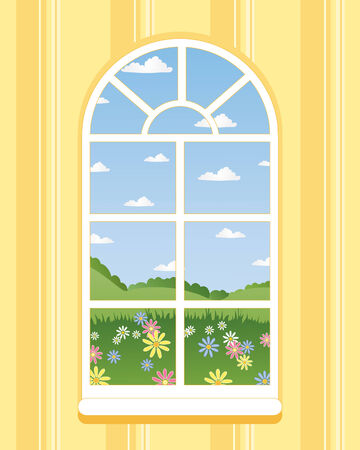 an illustration of an arched window in summer with a view across flower meadows