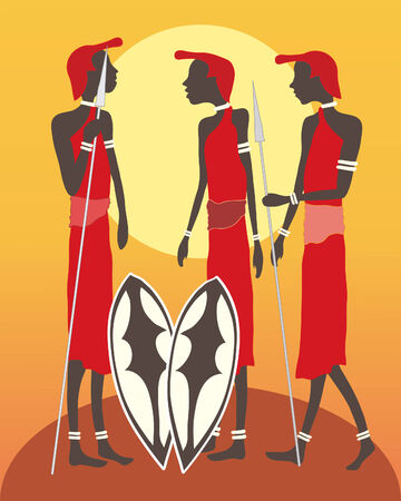 kenya: an illustration of a group of masai warriors talking in front of an african sunset
