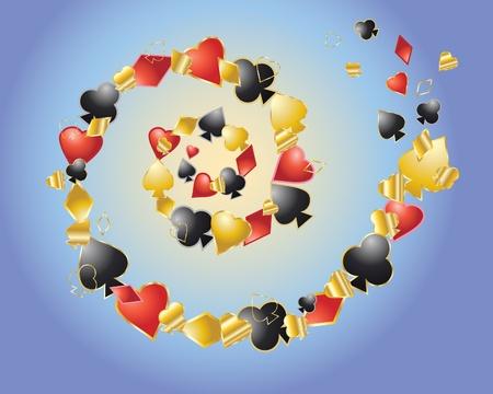 playing card symbols: una ilustraci�n de una espiral de s�mbolos de cartas sobre un fondo azul y amarillo Vectores