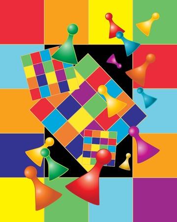 brettspiel: eine Abbildung eines Brettspiels mit Spielsteine in Regenbogenfarben Illustration