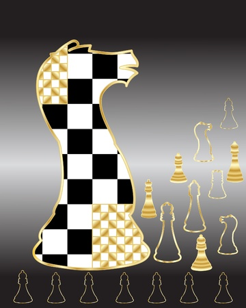 piece: an illustration of chess pieces in an abstract form on a black and gray background