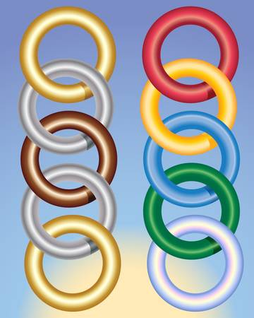 linked: an illustration of metallic and colorful rings on a blue and yellow background Illustration