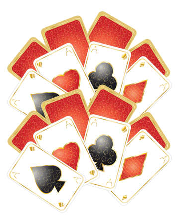 an illustration of gold and red playing cards on a white background Stock Vector - 9173458