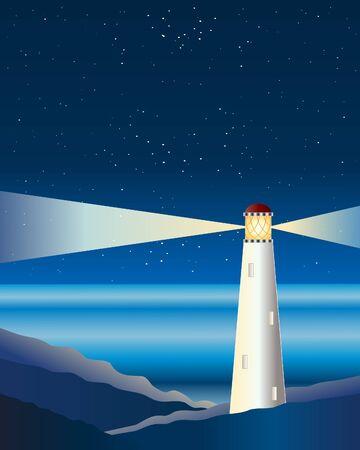 lighthouse at night: una ilustraci�n de un faro en las rocas con haces de luz brillando bajo un cielo estrellado