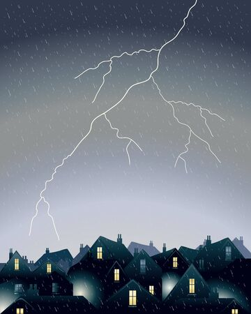 residences: an illustration of a fork of lightning in a rainy dark sky over city rooftops