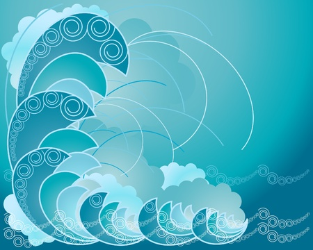 an abstract illustration of blue waves swirls and spray on a blue background