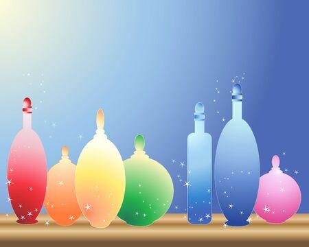 �tag�re bois: une illustration de bouteilles en verre color� sur un plateau en bois avec fond bleu et jaune