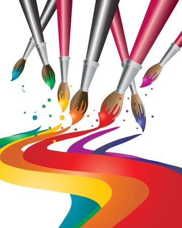 an illustration of artists paint brushes with colorful paint Illustration