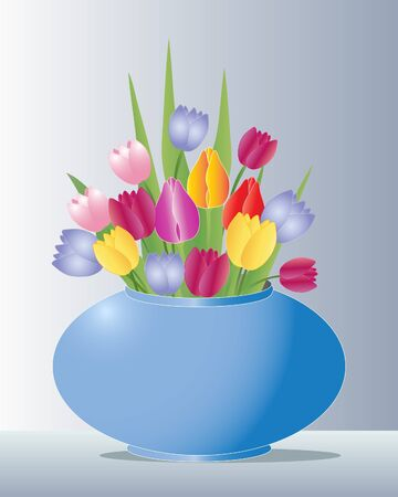 flowers in vase: illustration of a blue ceramic vase full of tulip flowers