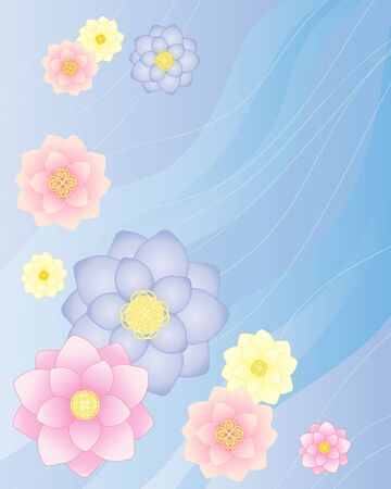 an illustration of colorful lotus flowers on a flowing water background Vector