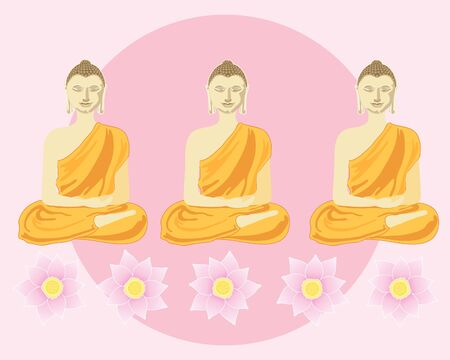 an illustration of a row of buddhas with lotus flowers in front of a big pink sun Vector