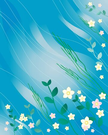an illustration of a flowing water background with green water plants and flowers Stock Vector - 9321324