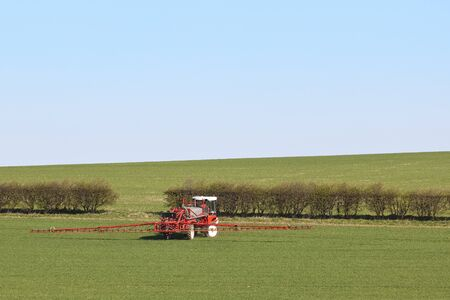 crop sprayer: an english landscape with a red and white crop sprayer working in a field of cereals under a clear blue sky in springtime Stock Photo