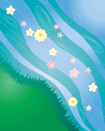 grassy: an illustration of a stream with grassy bank and floating flowers Illustration
