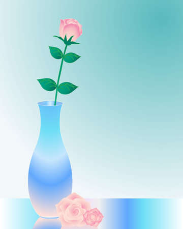 an illustration of a single rose in a blue vase on a glass table Vector