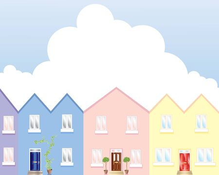 an illustration of a row of colorful houses under a blue cloudy sky Stock Vector - 9339819