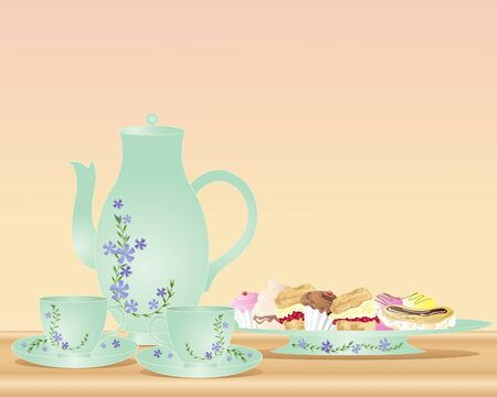 an illustration of a tea pot two cups and saucers with floral decoration and a plate of delicious cakes Vector