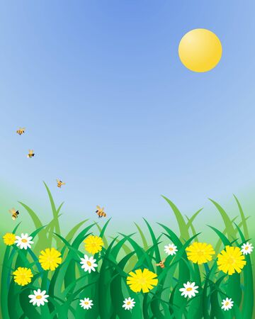 bee garden: an illustration of dandelions and daisies in long green grass with bees under a blue summer sky