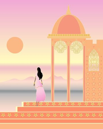 an illustration of a beautiful indian landscape with ornate architecture and a woman in a saree Stock Vector - 9374024