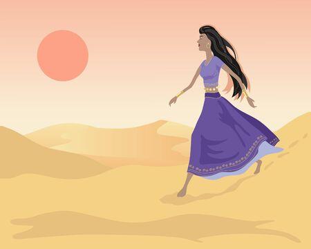 an illustration of of an asian woman walking in sand dunes under an orange evening sun Vector
