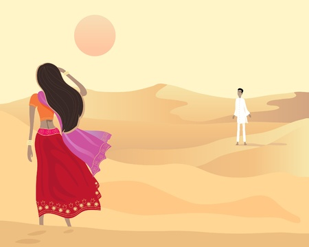 an illustration of a desert scene with an asian man and woman walking towards each other in the evening sun