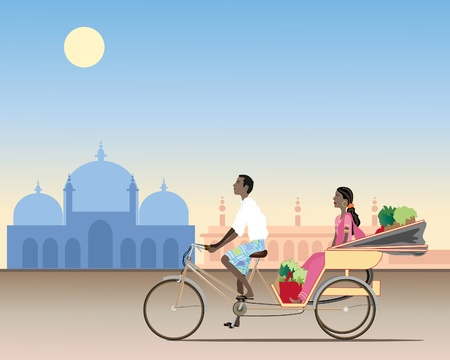 an illustration of a traditional rickshaw with an asian man cycling carrying a female passenger and shopping in an exotic setting