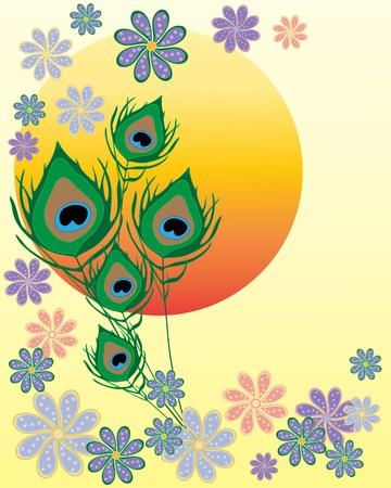 flores exoticas: una ilustración de un brillante sol asiático con plumas de pavo real decorativos y flores de estilo indio