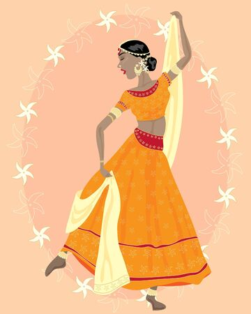 jasmine flower: an illustration of an asian dancer with decorative clothes and jewellery and a jasmine flower background