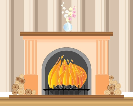 an illustration of a fireplace with a roaring fire logs a vase of orchids and striped wallpaper