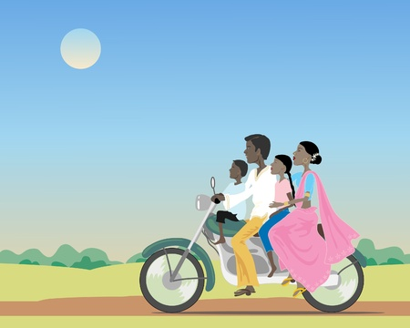 an illustration of an asian family riding a motorcycle in countryside under a dusty blue sky