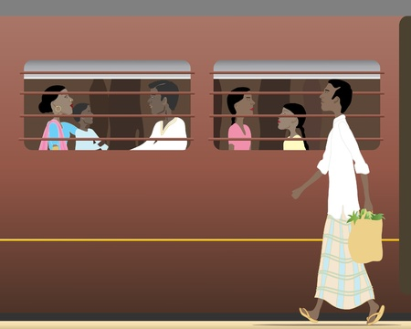 railway station: an illustration of an indian train carriage with people inside and an asian man walking on the platform