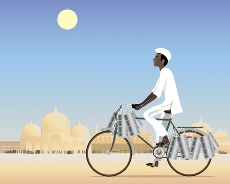an illustration of an indian dabbawalla delivering tiffins in a city under a blue sky