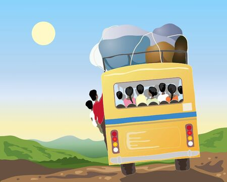 an illustration of a yellow bus full of passengers and luggage going through beautiful countryside in asia under a blue sky