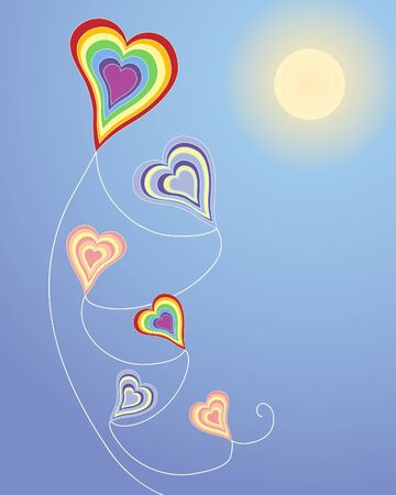 an illustration of a heart shaped kite in bright colors on a blue sky background and yellow sun Vector