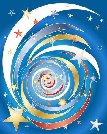 independance: an illustration of a stars and stripes firework celebration on a blue background Illustration