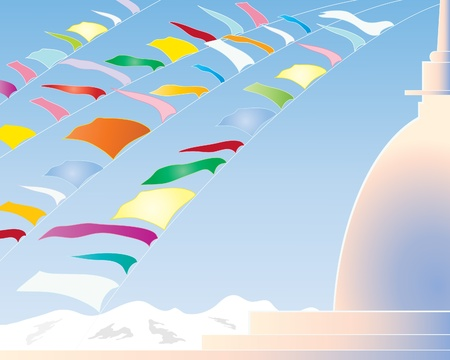 stupa: an illustration of colorful prayer flags on a buddhist stupa with mountains and a blue sky