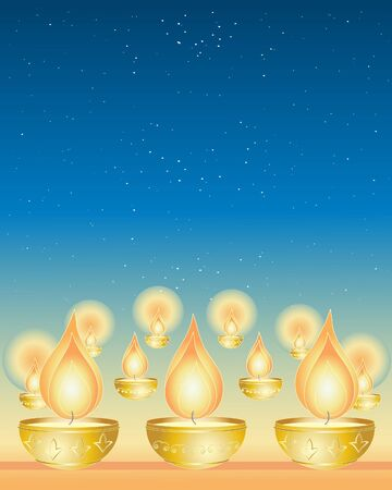 an illustration of diwali candles in golden cups under a starry night sky Illustration