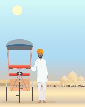 kameez: an illustration of an indian rajput standing by his cycle rickshaw in a dusty city under a hot sun Illustration