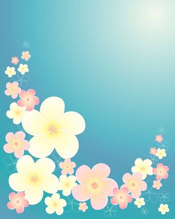 an illustration of frangipani flowers in pastel colors on a water background Vector