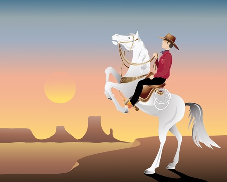an illustration of a cowboy on a white horse on a hill overlooking sunset canyonlands Vector
