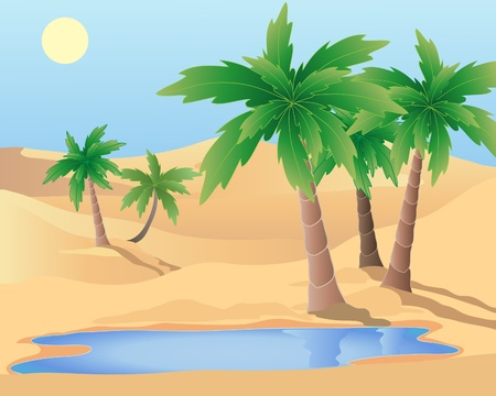 an illustration of a desert oasis with palm trees and a pool under a blue sky